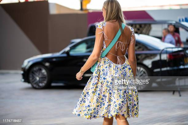 Nina Suess is seen wearing backless dress outside House of Holland during London Fashion Week September 2019 on September 14, 2019 in London, England.