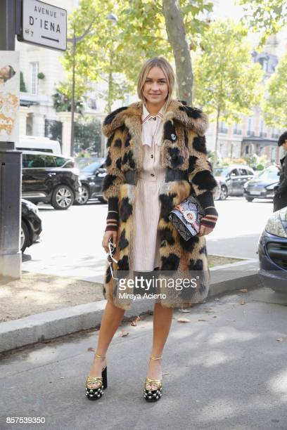 Nina Suess seen during Paris Fashion Week Womenswear Spring/Summer 2018 on October 3 2017 in Paris France