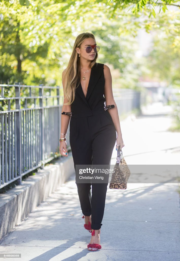 Nina Suess wearing Fendi bag seen in the streets of Manhattan outside Michael Kors during New York Fashion Week on September 13, 2017 in New York City.