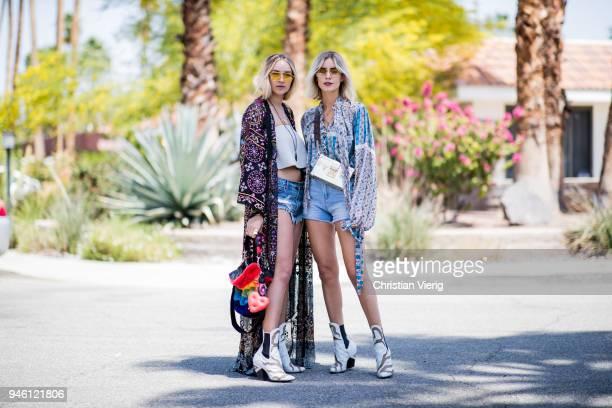 Nina Suess wearing Louis Vuitton boots Kimono Camilla Levis shorts cropped off shoulder top aq aq Les Petits Joueurs bag Aigner strap Dior sunglasses...