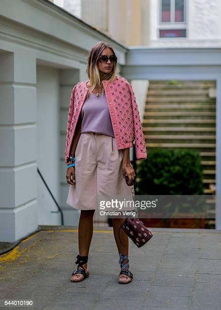 Nina Suess wearing Marina Hoermanseder Miu Miu shoes outside Marina Hoermanseder during the MercedesBenz Fashion Week Berlin Spring/Summer 2017 on...
