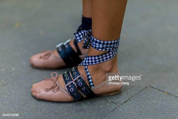 Nina Suess wearing Miu Miu shoes outside Marina Hoermanseder during the MercedesBenz Fashion Week Berlin Spring/Summer 2017 on June 30 2016 in Berlin...