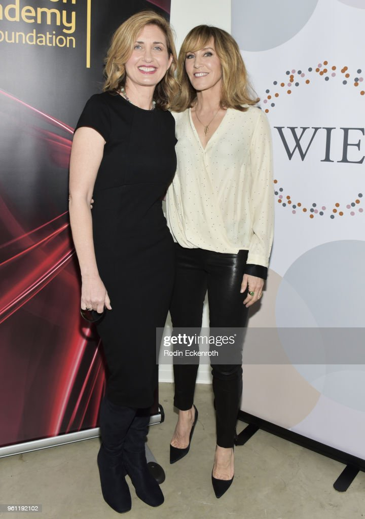 Nina Tassler (L) and Felicity Huffman pose for portrait at the Women in Entertainment and The Television Academy Foundation's Inaugural Women in Television Summit at Saban Media Center on May 21, 2018 in North Hollywood, California.