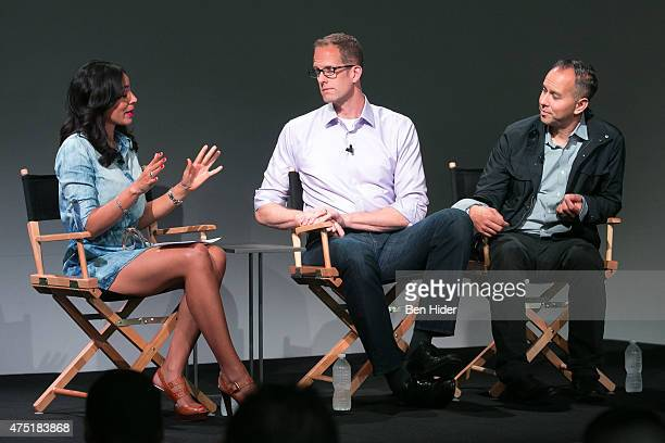 Nina Terrero Film director animator screenwriter producer and voice actor Pete Docter and Jonas Rivera attend the Apple Store Soho Presents Pete...