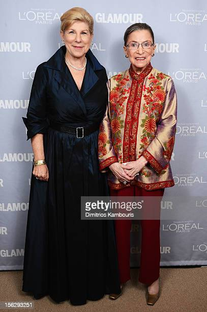 Nina Totenberg and Justice Ruth Bader Ginsburg pose backstage at the 22nd annual Glamour Women of the Year Awards at Carnegie Hall on November 12...