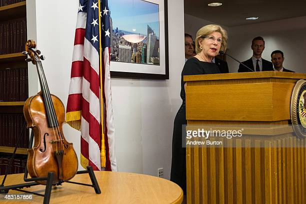 Nina Totenberg speaks at a press conference announcing the recovery of her father Roman Totenberg's Stadivarius violin which was stolen after a...