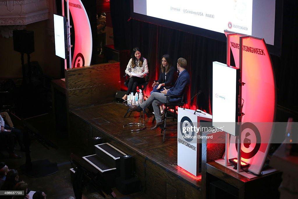 Nina Tsang, Jessica Alba and Christopher Gavigan speak onstage during An Honest Conversation with Jessica Alba and Christopher Gavigan on September 29, 2014 in New York City.