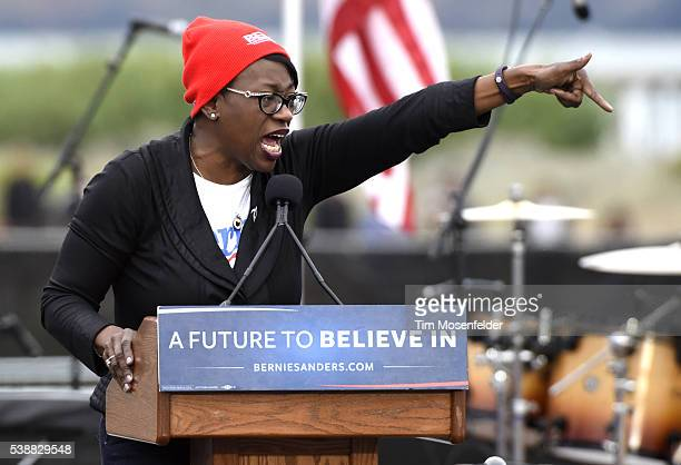 Nina Turner speaks at Bernie Sanders A future to believe in San Francisco GOTV Concert at Crissy Field San Francisco on June 6 2016 in San Francisco...
