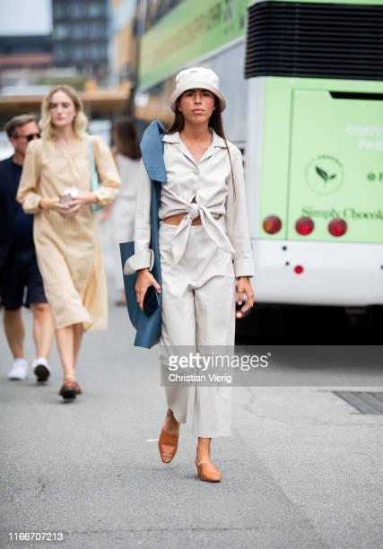 Nina Urgell Cloquell is seen outside Holzweiler during Copenhagen Fashion Week Spring/Summer 2020 on August 07, 2019 in Copenhagen, Denmark.