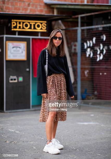 Nina Urgell Cloquell wearing skirt with leopard print black knit seen during the BreadButter by Zalando at Arena Berlin on August 31 2018 in Berlin...