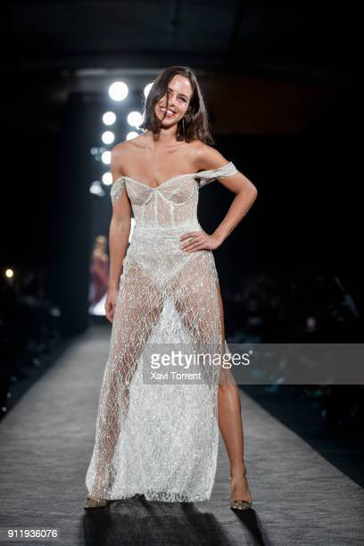 Nina Urgell walks the runway at the Ze Garcia show during the Barcelona 080 Fashion Week on January 29 2018 in Barcelona Spain
