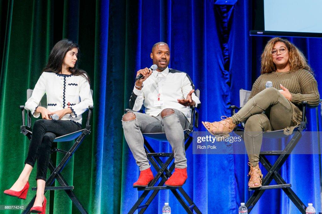 Nina Vir, Ishmael Mayhew and Bria Sullivan on stage at Google CS+X Series: Dress Code at Google Los Angeles Office on October 12, 2017 in Venice, California.