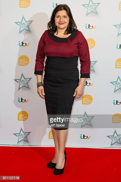 Nina Wadia arrives for Good Morning Britain's Health Star Awards at Hilton Park Lane on April 14 2016 in London England