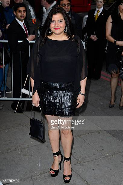 Nina Wadia attends The Asian Awards at The Grosvenor House Hotel on April 4 2014 in London England