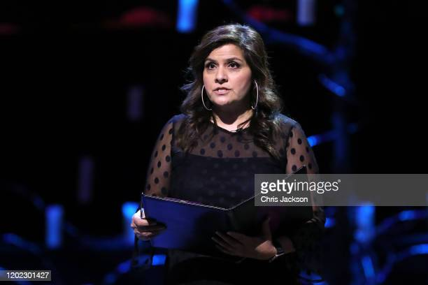 Nina Wadia reads during the UK Holocaust Memorial Day Commemorative Ceremony in Westminster on January 27 2020 in London England 2020 marks the 75th...