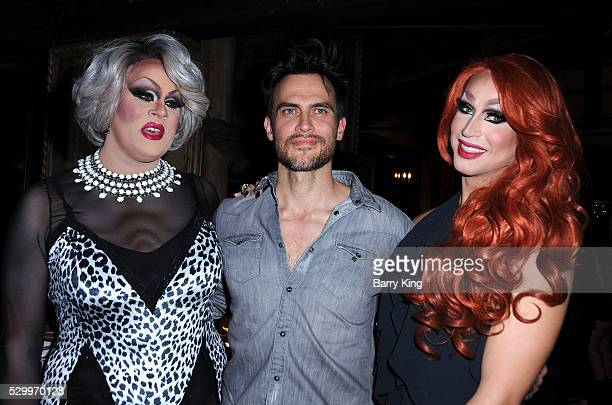 Nina West actor Cheyenne Jackson and Brooke Lynn Hytes attend the 'Why Drag' book launch at The Abbey on May 9 2016 in West Hollywood California