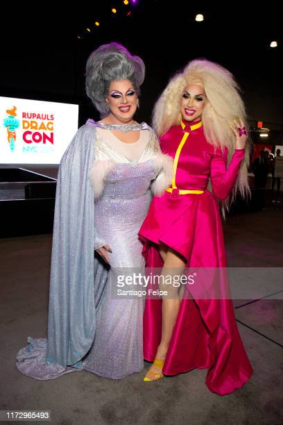 Nina West and Brooke Lynn Hytes attend RuPaul's DragCon 2019 at The Jacob K Javits Convention Center on September 07 2019 in New York City
