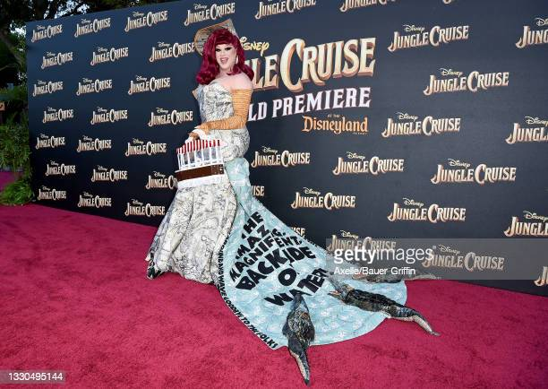 """Nina West attends the World Premiere of Disney's """"Jungle Cruise"""" at Disneyland on July 24, 2021 in Anaheim, California."""