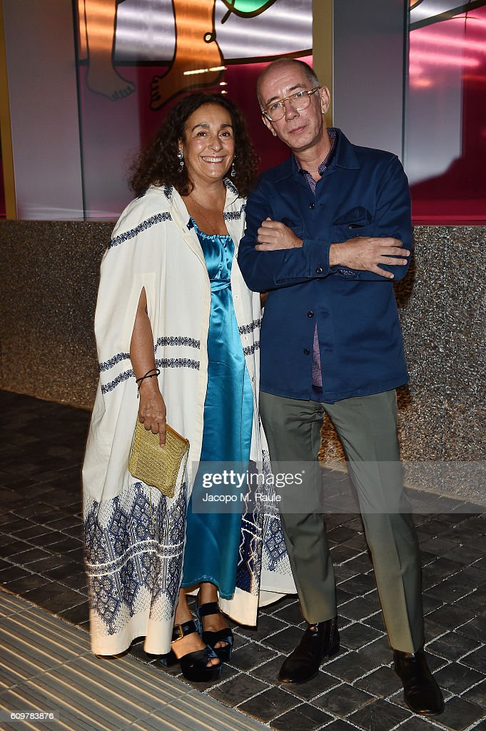 Nina Yashar and Carsten Hoeller attend Miuccia Prada and Patrizio Bertelli private screening of a short movie by David O. Russell and dinner party at Fondazione Prada during Milan Fashion Week Spring/Summer 2017 on September 22, 2016 in Milan, Italy.