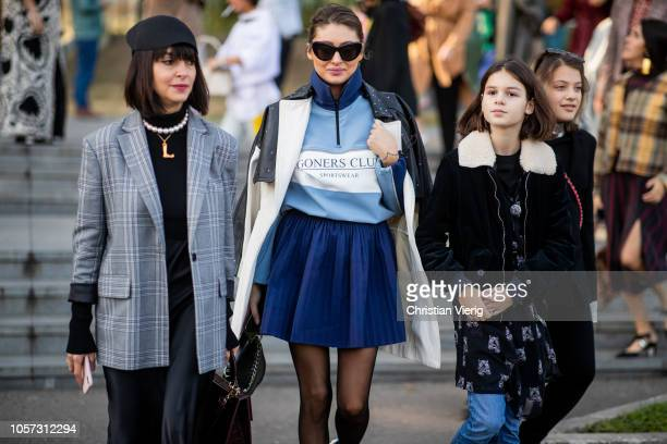 Nina Zarqua is seen wearing blue pleated mini skirt during MercedesBenz Tbilisi Fashion Week on November 4 2018 in Tbilisi Georgia