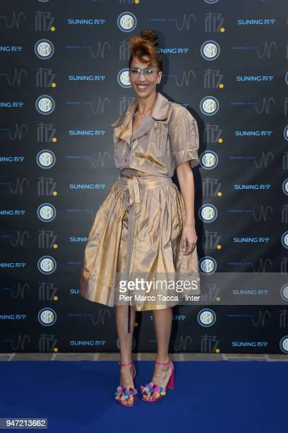 Nina Zilli attends the unveiling of FC Internazionale 'Innovative Passion' Concept At Milan Design Week on April 16 2018 in Milan Italy