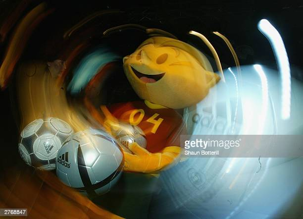 Ninas the official Euro 2004 mascot and the Euro 2004 Roteiro Bal are shown during the Adidas Rotiero Ball Launch for the European Chamionships 2004...