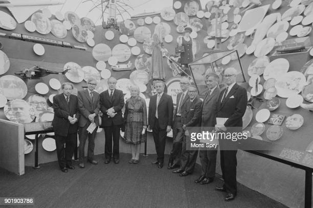 Nine British Nobel Prize winners at a preview of the British Genius Exhibition in Battersea London 26th May 1977 From left to right Sir Ernst Boris...