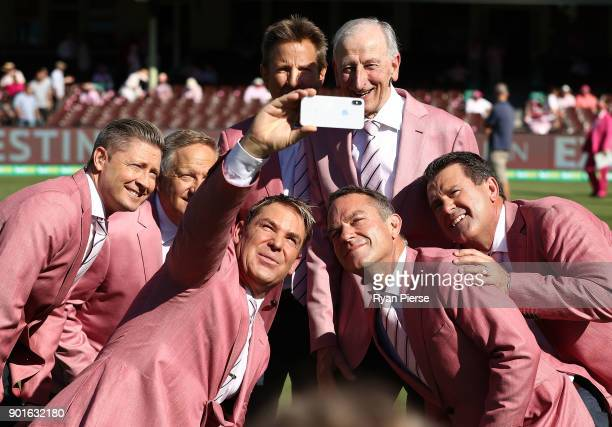 Nine commentary team members Michael Clarke Ian Healy Shane Warne Mark Nicholas Bill Lawry Michael Slater and Mark Taylor pose for a selfie in their...