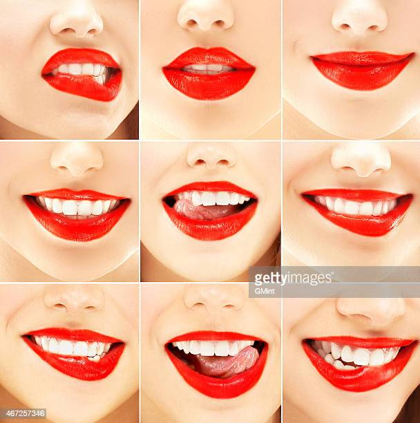 Nine different pictures of a woman's mouth with red lipstick