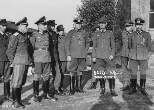 Nine German Generals and a Russian General who had defected to the Wehrmacht surrender to the American forces at Bad Aibling in Germany during World...
