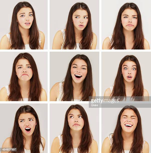 Brunette girl expression collection set