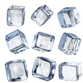 Nine Individual Square Ice Cubes Isolated with Clipping Path