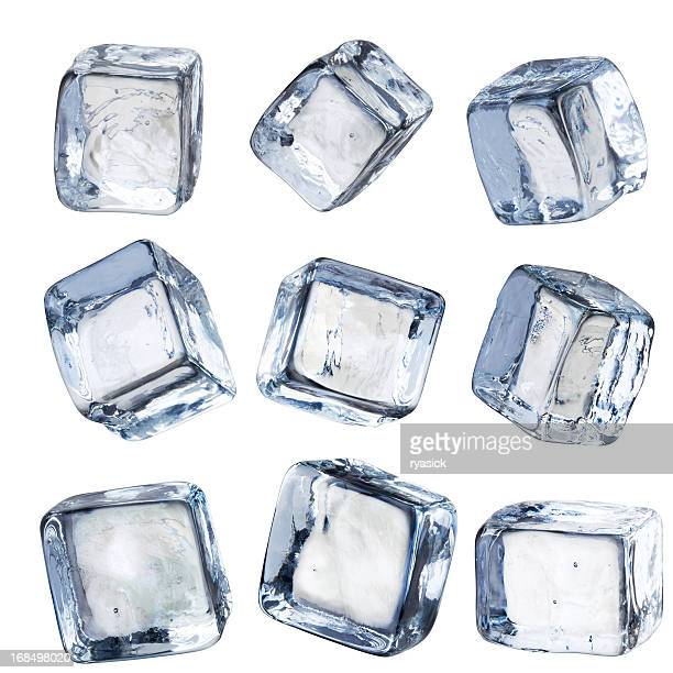 nine individual square ice cubes isolated with clipping path - ice stock pictures, royalty-free photos & images