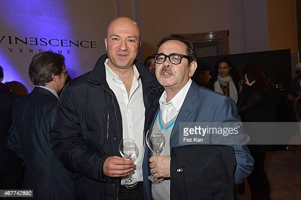 Nine Kube Galerie director Bruno Hoang and a guest attend the 'Diamond Night by Divinescence Vendome' Harumi Klossowska Jewellery Exhibition Preview...
