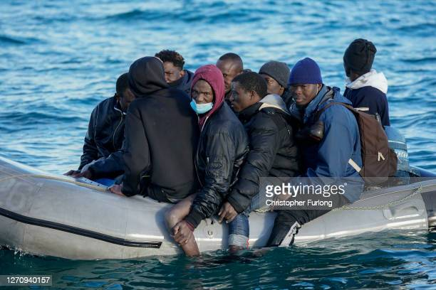 Nine migrants drift in the English Channel after their engine failed on September 06, 2020 in Dover, England. The nine male migrants were making...