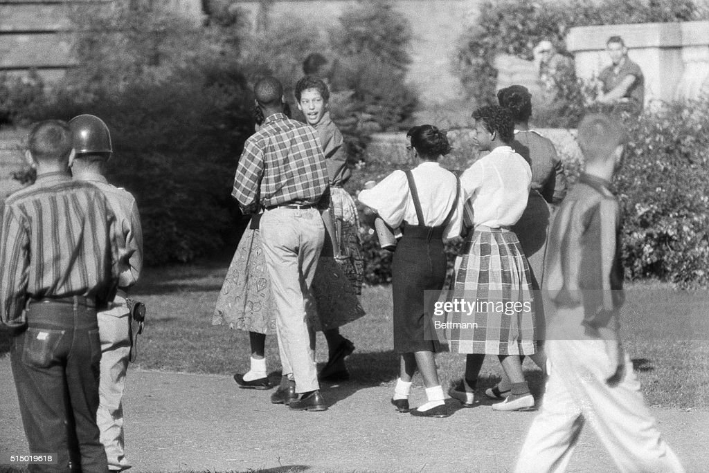 Black Students Walking to Integrated School : News Photo