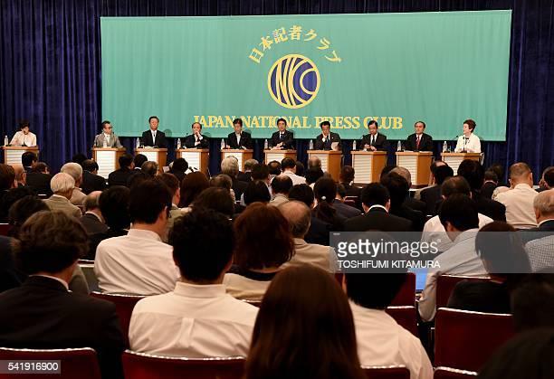 Nine party leaders New Renaissance Party leader Hiroyuki Arai People's Life Party leader Ichiro Ozawa Osaka Ishinnokai leader Toranosuke Katayama...