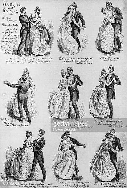 Nine pictures showing the different stages of how to perform the waltz