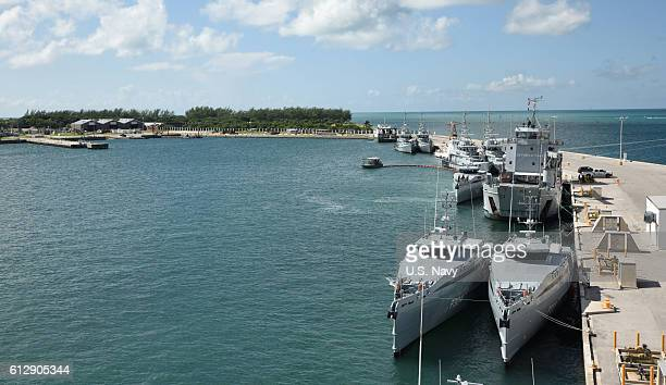 Nine ships from the Royal Bahamas Defence Force, research vessel Walton Smith and a contract vessel take shelter at Naval Air Station Mole Pier as...