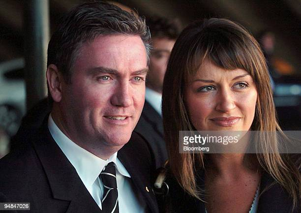 Nine Television Network Chief Executive Officer Eddie McGuire and his wife Carla arrive at the memorial service for Kerry Packer at the Opera House...