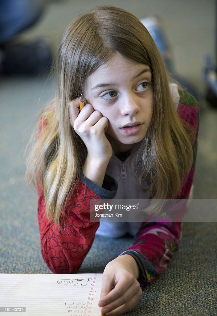 Nine Year Old Girl At School Stock Photo Getty Images
