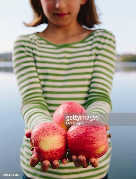 Nine year old girl holding handful of organic apples