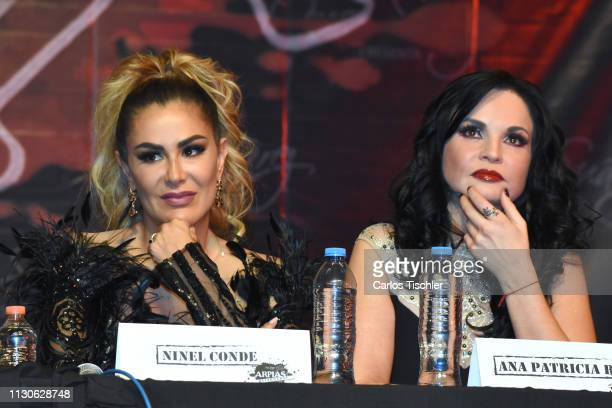 Ninel Conde and Ana Patricia Rojo speaks during the 'Arpias Recargadas' press conference at Teatro Silvia Pinal on February 18 2019 in Mexico City...