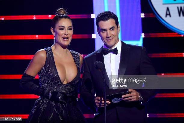 Ninel Conde and David Zepeda speak onstage during the 2019 Latin American Music Awards at Dolby Theatre on October 17 2019 in Hollywood California