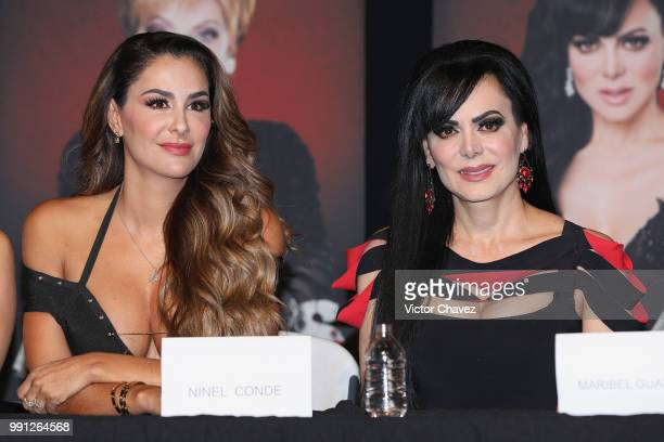 Ninel Conde and Maribel Guardia attend a press conference to promote the theater play Las Arpias at El Telon de Asfalto on July 3 2018 in Mexico City...