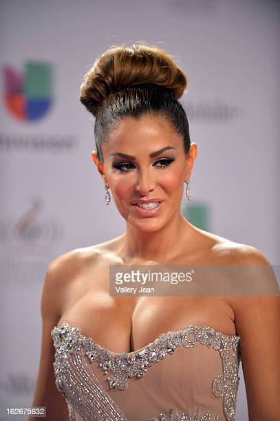 Ninel Conde arrives at 25th Anniversary Of Univision's Premio Lo Nuestro A La Musica Latina at American Airlines Arena on February 21 2013 in Miami...
