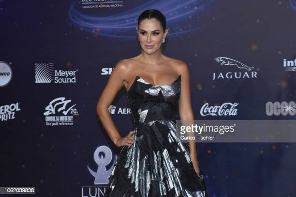 Ninel Conde poses for photos on the red carpet before the XVII Lunas del Auditorio award ceremony at Auditorio Nacional on October 31 2018 in Mexico...
