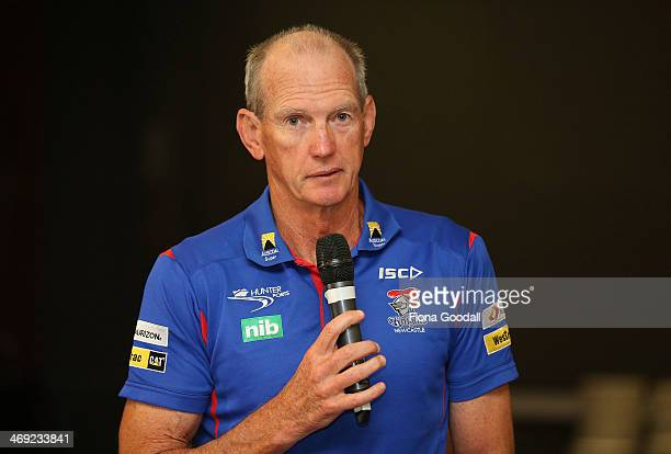 Nines Newcastle Knights coach Wayne Bennett answers questions during the Auckland Nines captain's and coach breakfast at the Pullman Hotel on...