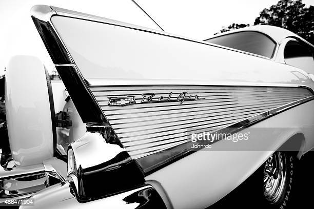 nineteen fifty seven chevy bel air, shot of rear, b&w - chevrolet stock pictures, royalty-free photos & images