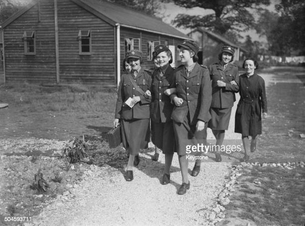 Nineteen yearold Mary SpencerChurchill youngest daughter of British Prime Minister Winston Churchill at an ATS reception depot in southern England...